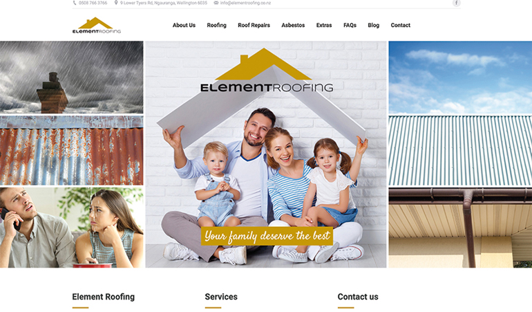 Element roofing website page